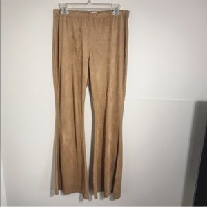 Tan suede like flare hippie pants size large